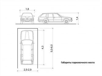 Размеры парковочного места для легкового автомобиля СНИП
